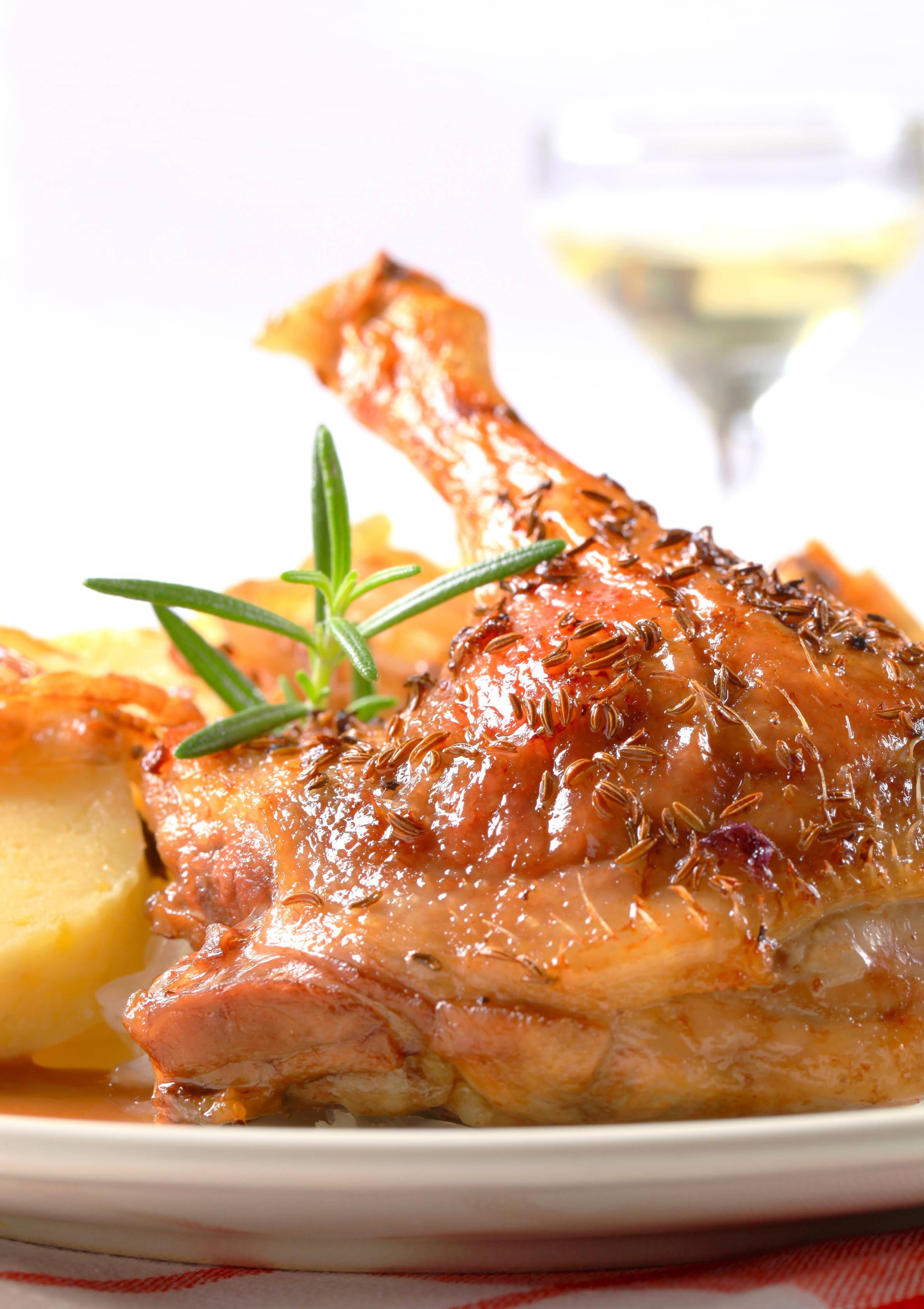 Roast duck with potato dumplings